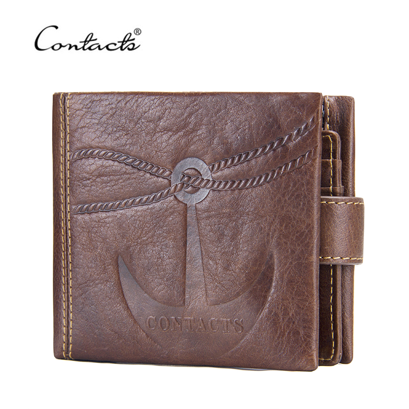 CONTACT'S New Men Wallets Genuine Leather Coin Purse Vintage Style Hasp Short Card Holder Wallet For Male Designer Brand Purse