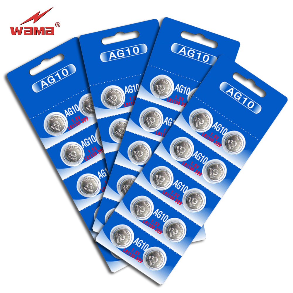 40pcs/lot Wama <font><b>AG10</b></font> <font><b>1.5V</b></font> Alkaline Coin <font><b>Battery</b></font> Button Cell LR1130 389 390 Calculator Toys Watch <font><b>Batteries</b></font> Disposable NEW image