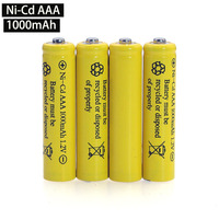 NI CD AAA Batteries 1.2v Rechargeable nicd Battery 1.2V Ni Cd aaa For Electric remote Control car Toy RC ues wholesale
