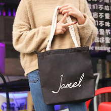 купить Canvas shoulder bag Tote bags Reusable Large Capacity Webshop Eco Foldable Shopping bag  Casual Beach Bag Soft Foldable Tote дешево
