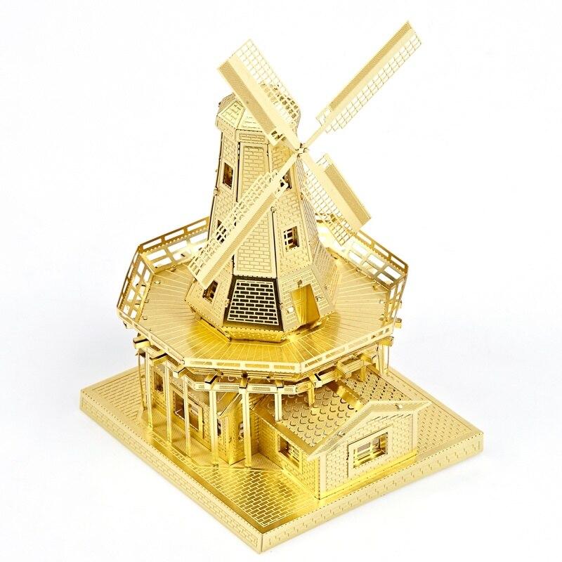 Piececool Moulin À Vent Hollandais Architecture Du Bâtiment DIY 3d Métal Nano Puzzle Assembler Modèle Kits P012 Laser Cut Puzzle Jouets
