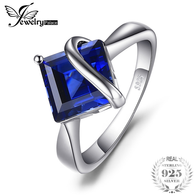 JewelryPalace Classic 3.32ct Square Created Blue Sapphire Engagement Ring For Wo