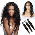 360 Lace Frontal Closure With Bundles 7A Malaysian Virgin Hair With Closure Loose Wave Full Lace Closure Ear To Ear With Bundles
