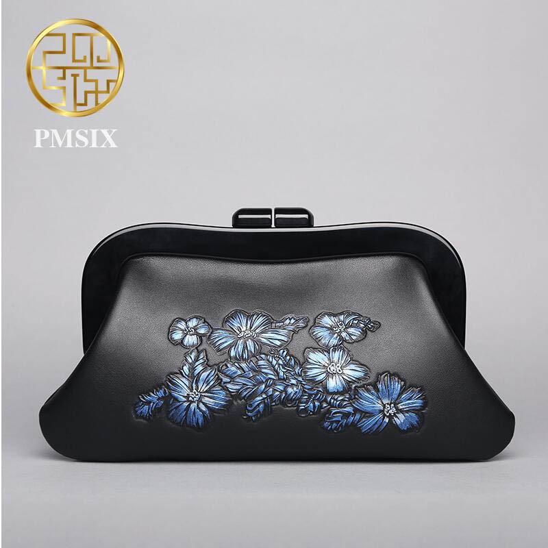 Genuine Leather handbag Pmsix 2016 Fashion Chinese Wind Evening Bag Embossed clutch все цены