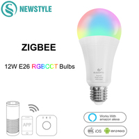 ZIGBEE RGBCCT 12W E26 E27 LED Bulbs Dimmable Smart Voice Wifi Control LED Bulbs AC100 240V Work With Amazon Alexa Echo Google