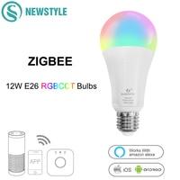 ZIGBEE RGBCCT 12W E26 E27 LED Bulbs Dimmable Smart Voice Wifi Control LED Bulbs AC100 240V Work With Amazon Alexa Echo Google