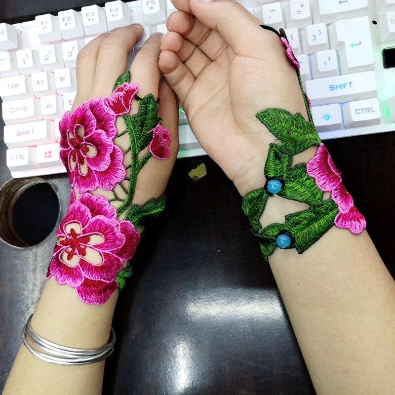 Ethnic Wind Embroidery Flower Hollow Fingerless Gloves Fashion Joker Bracer Bracelet Dance Jewelry For Women 03
