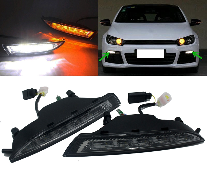 High Power LED DRL Daytime Running Light with yellow moving turn signal Car-Specific for VW Volkswagen Scirocco 2013-2015 1set car accessories daytime running lights with yellow turn signals auto led drl for volkswagen vw scirocco 2010 2012 2013 2014