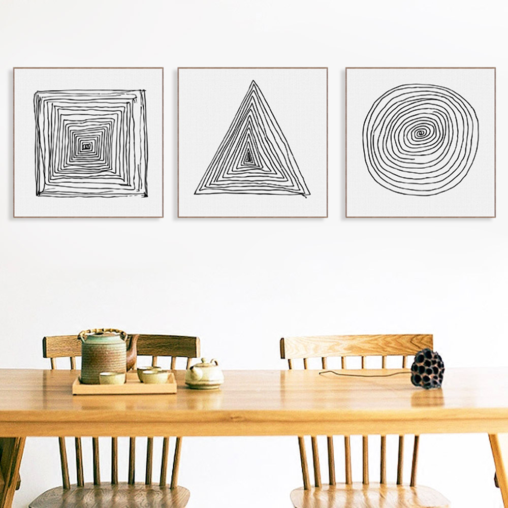 Zen poster design - Abstract Black White Geometry Lines Zen Poster A4 Nordic Minimalist Wall Art Canvas Painting No Frame