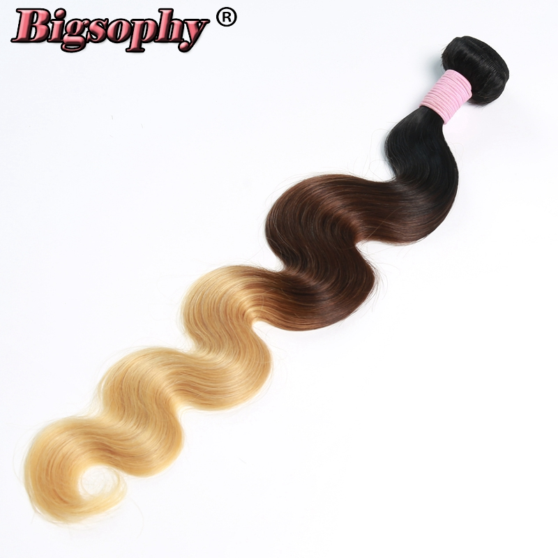 Bigsophy Indian Hair Weave Bundles Body Wave Human Hair 3 Tone 1B/4/27 Ombre Color Remy Hair Extensions Can Buy 3/4 Bundles