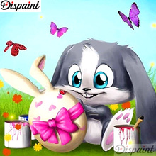 Dispaint 5D Diamond Rabbit butterfly Embroidery Full Round/ Square Diy Painting Cross Stitch Home Decor A12573