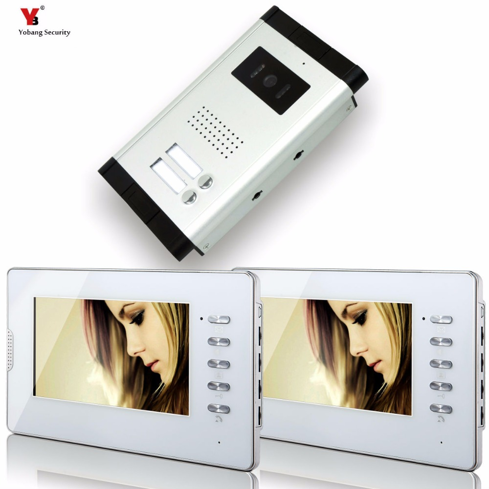 "Yobang Security 7"" Video Intercom Apartment Door Phone System 2 Monitor + 1 Doorbell Camera For 2 House Family In Stock Wholesal"
