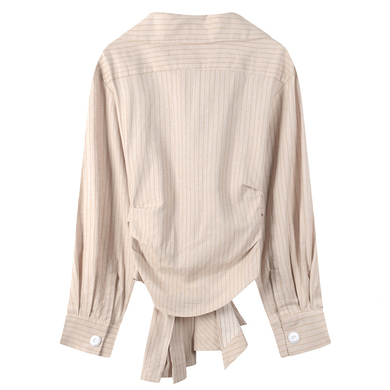 2018 Ourlet Femmes Streetwear Lady Rayé Blouse Ww Blusas Ceintures Office Tops Beige Ruché Shirt Wang Automne Mode 1904 Whitney 5q4F05w