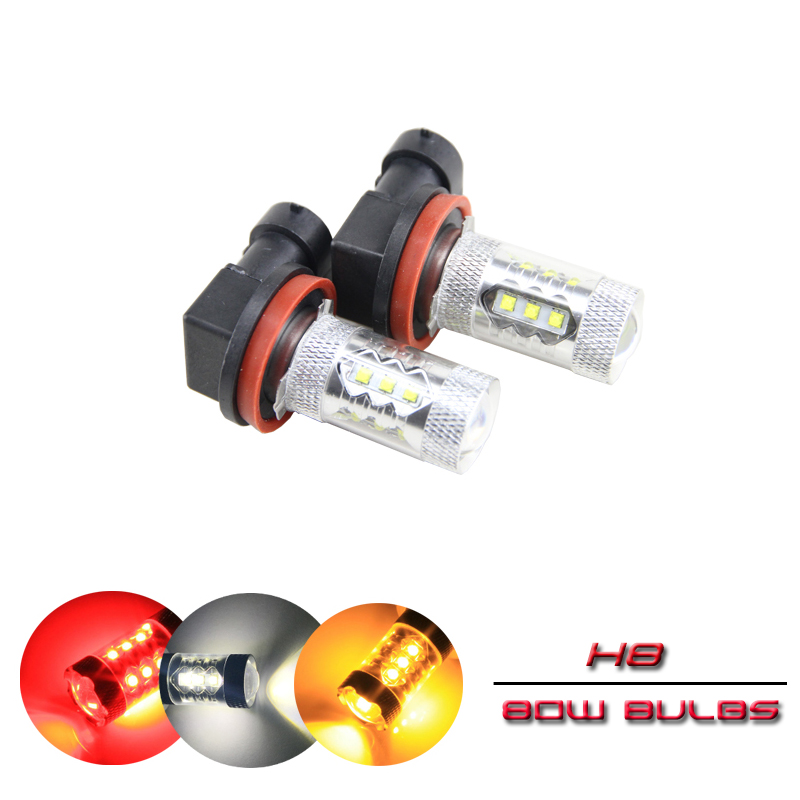2x 80W High Power H8 <font><b>PGJ19</b></font>-<font><b>1</b></font> Auto Car Led Fog Light Bulbs For Bmw X5 07 08 09 10 11 12 13 Direct Fits Cree Chips Red Yellow image