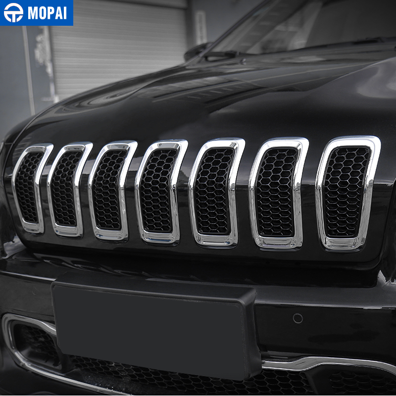 Image 3 - MOPAI Car Sticker for Jeep Cherokee 2014 2018 Car Front Mesh Grille Decoration Grid Guard Inserts Molding Cover Car Accessories-in Car Stickers from Automobiles & Motorcycles