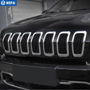 Image 3 - Mopai車のステッカージープチェロキー 2014 2018 車のフロントグリル装飾グリッドガードインサート成形カバー車アクセサリー