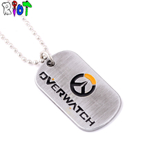 FPS Game Overwatch LOGO Alloy Necklace Pendants Men Jewelry Tracer Reaper OW key Chain Entertainment Keyrings Charms Fans Gift