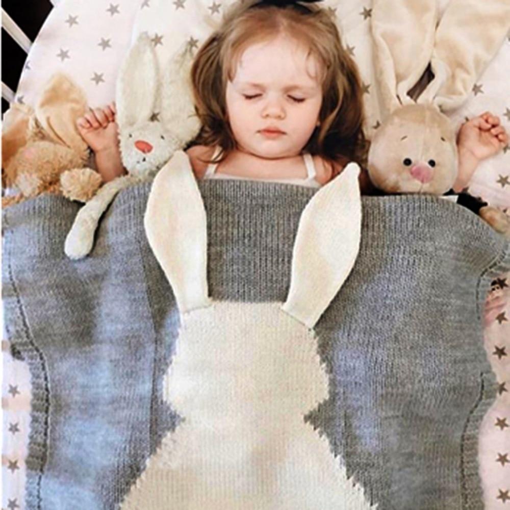 Søt kanin barn baby strikke teppe kanin seng sofa cobertores mantas - Baby klær