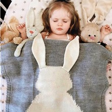 Mignon Lapin Enfants Bébé Tricot Couverture Lapin Lit Canapé Cobertores Mantas Serviette De Bain Couverture Jette Wrap Enfant En Bas Âge Infantile de Couchage Swaddle
