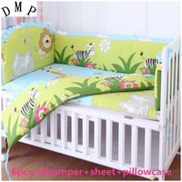 Promotion! 6pcs Lion Crib Bedding Set For Children's Bed Crib Set Baby Bedding (bumpers+sheet+pillow cover)
