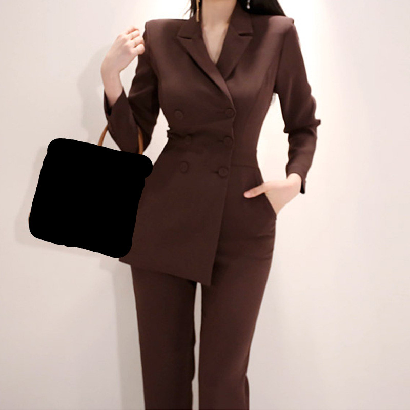 Notched Button Brown Elegant Solid Long Slim Women New Jumpsuits Office Double Irregular 2018 Playsuit Jumpsuit Breasted Autumn nnqwfpvx4