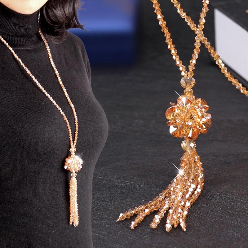 Heeda coreano cristal longo colar moda feminina camisola corrente 2019 nova kpop senhora borla gargantilha outono inverno graciosa kolye
