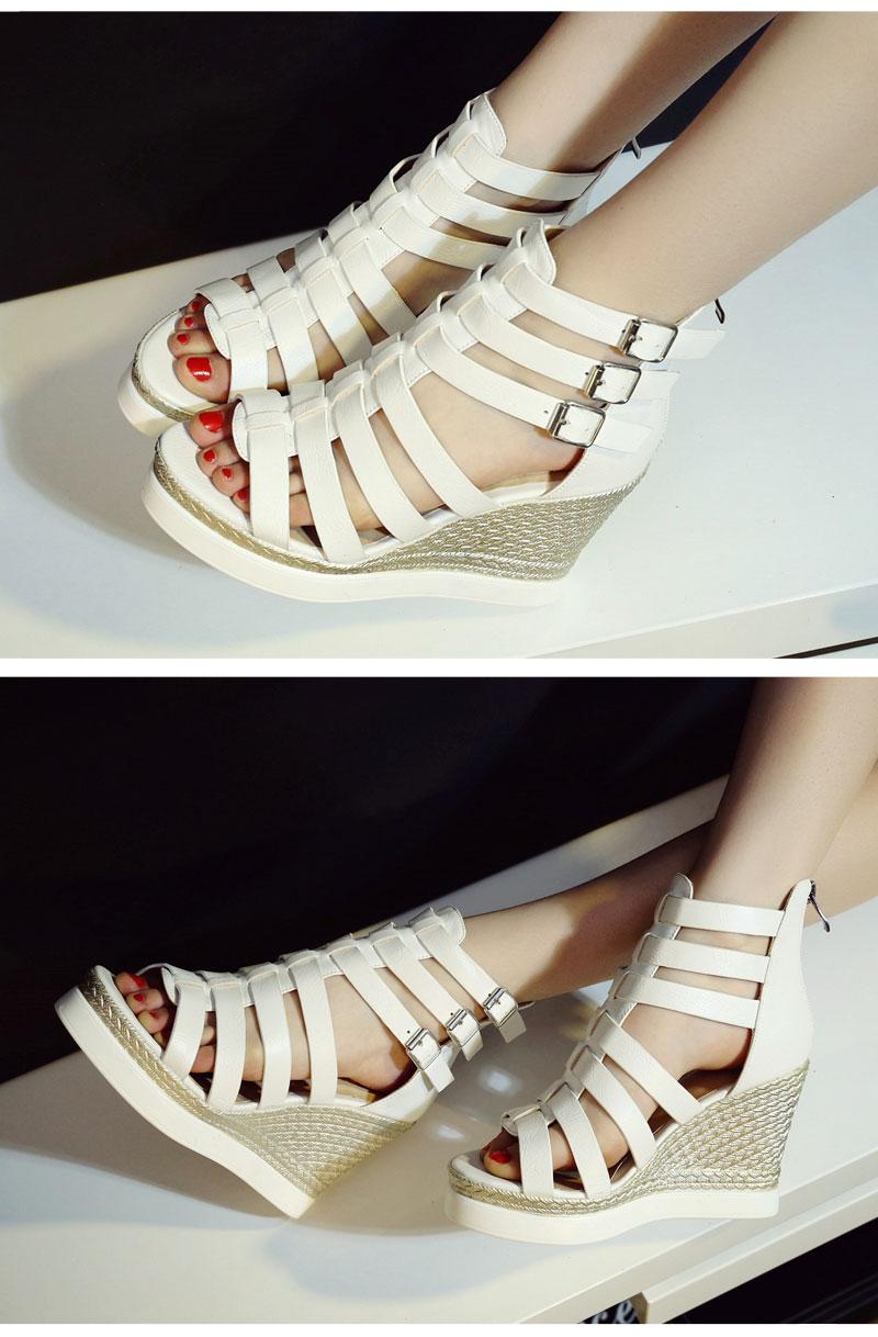 Gladiator Shoes, Women's Platform Wedges, High Heel Sandals, Rome Ladies Wedge Heels 11