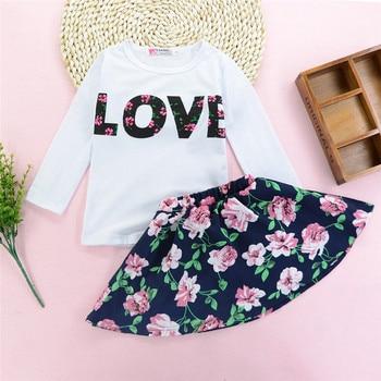 2pc letter & flower clothes set for girls casual baby clothes kawaii toddler girls clothes set conjunto menina #F#4ot25 conjuntos casuales para niñas