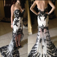 2016 new arrival sheath black white lace appliques hi lo evening dress court train formal long evening gowns best selling