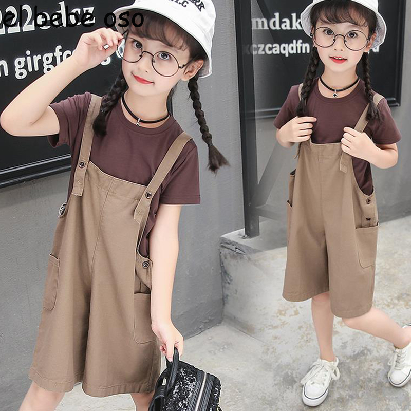 Children's Suit 2018 Summer New Fashion Baby Girls Short Sleeve Pullover T shirt + Overalls Wide Leg Pants 2pcs Casual Set XL284
