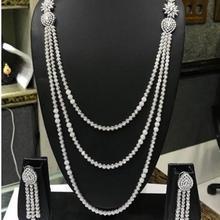 Эксклюзивная Длинная цепочка с кубическим цирконием, Свадебные Ювелирные наборы из Дубаи для женщин, роскошный золотой ювелирный набор N46