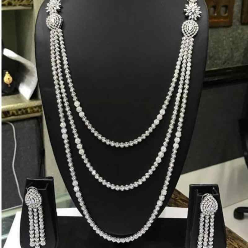 HIBRIDE Exclusive Long Chain Cubic Zirconia Wedding Bridal Dubai Jewelry Sets for Woman Gold Luxury Jewelry Set N46
