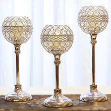 Creative Wedding Candelabra Centerpieces Center Table Candlesticks Parties Decor K9 Crystal Candle Lantern Gold Holders