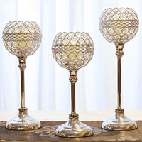 Creative Wedding Candelabra Centerpieces Center Table Candlesticks Parties Decor K9 Crystal Candle Lantern Gold Candle Holders