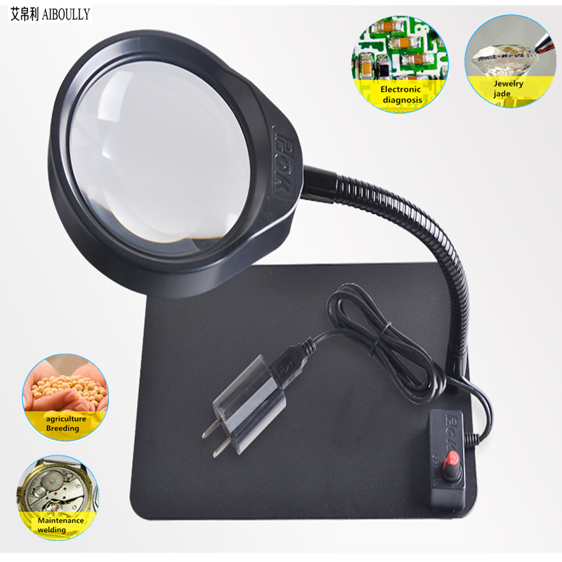 Desktop USB high-definition magnifying glass with LED lights 10 times all-metal electronic maintenance desk lamp tools pocket 160 200 times magnifying glass microscope led lamp with light source