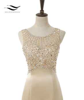 SOLOVEDRESS 2019 Elegant Scoop Matte Satin Real Photo Shiny Beads Mermaid Long Evening Dress U Back Formal Gold Gown SLD-E5005
