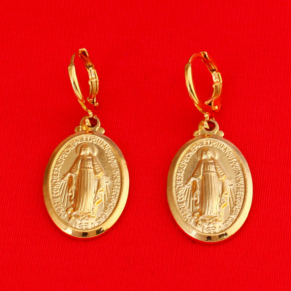 Virgin Mary Earrings Christmas Gifts 24K Gold Color Women Men Jewelry Earrings Wholesale Cross Earrings Jewelry