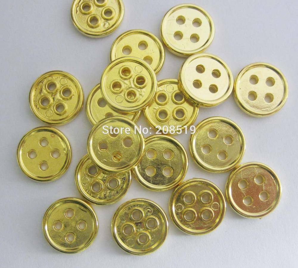 NBNNVK 13MM round gold color shirt buttons 100 pieces Plastic plating buttons 4 holes sewing supplies