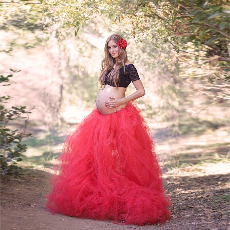 Quelle Jupe Prop Romantique Extra Bal Couleur Long Maternité De Mariages Danse Salle Tutu N'importe Séance Rouge Photo Tulle Adulte Principal xFZYnZ