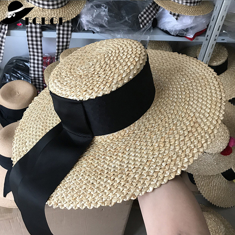 FGHGF Women Natural Floppy Straw Hat Wide Brim Summer Hat Flat Top Black Long Band Beach Hat Cap Ladies Kentucky Derby Sun hats