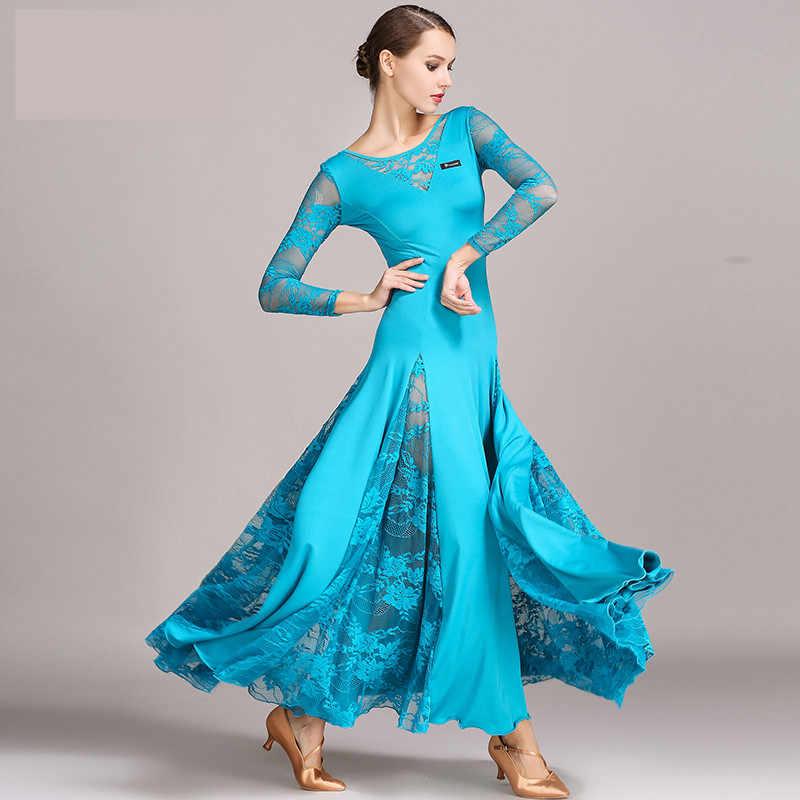 Сексуальное Кружевное бальное танцевальное платье для женщин с длинным рукавом Вальс Танго танцевальные платья стандартное бальное платье черный/красный/синий/зеленый