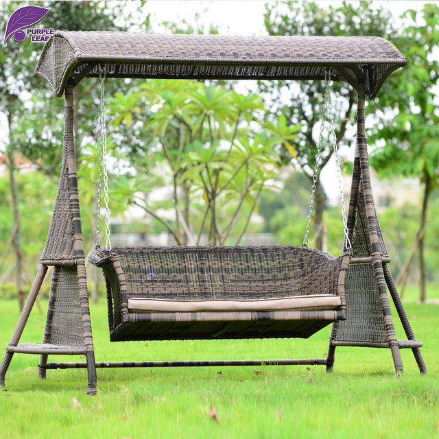 PURPLE LEAF Garden Patio Preparation Rattan Swing  Chair Furniture With Cushion And Roof