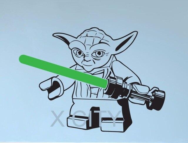 lego yoda star wars wall art sticker decal removable vinyl cut diy home decor mural children - Lego Yoda