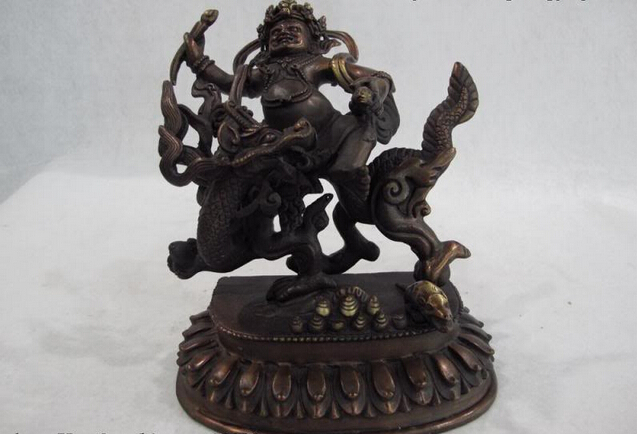 Fast Shipping USPS To USA S0341 6 Tibet Buddhism Pure Bronze Copper White Jambhala Buddha Ride On Dragon Statue
