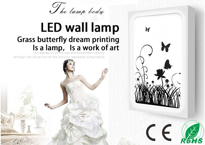 ФОТО Grass butterfly dream printing LED wall lamp for Indoor lighting decoration in the Bedroom, sitting room, study, corridor, etc