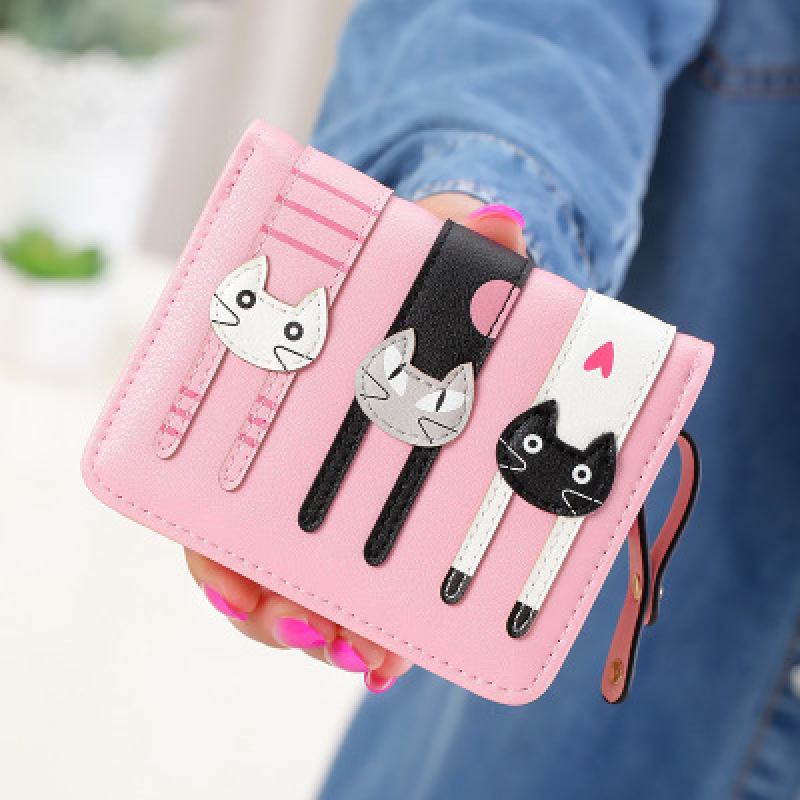 Women Cute PU Leather Purse Hasp Cartoon Cat Short Wallet Pink Animal Change Purse Card Holder for Teenage Girls Money Pouch Y3 fabra women cute cartoon pu leather