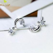 Flyleaf 925 Sterling Silver Earrings For Women Fresh Fashion Asymmetry Xingyue Tassel Drop Simple Fashion Fine Jewelry Party