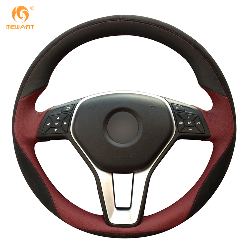 Maroon black leather black suede steering wheel cover for for Mercedes benz steering wheel cover