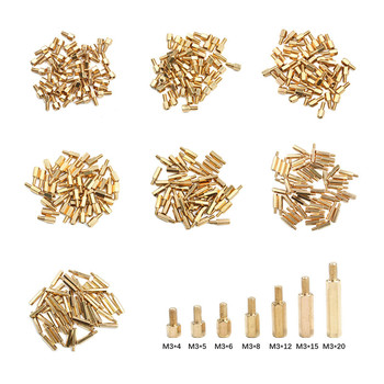 50Pcs M3 Screws Hex Head Brass Spacing Screw M3*4/5/6/8/12/15/20mm+6mm Threaded Pillar PCB Spacer PC Motherboard StandOff Spacer image