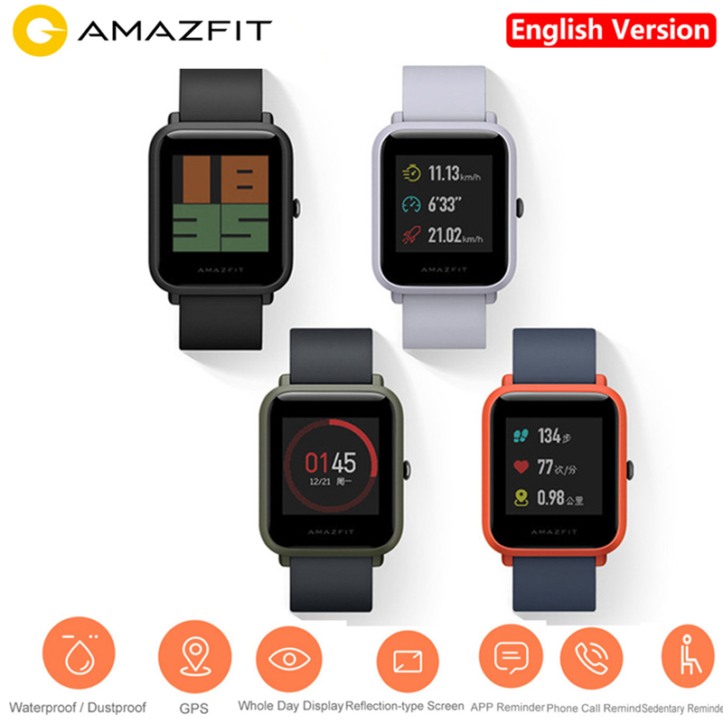 Huami AMAZFIT 2.5D Gorilla Dello Schermo Smartwatch IP68 Impermeabile Heart Rate Monitor di Dormire GPS Gioventù Astuto Del Telefono Della Vigilanza Inglese Versio